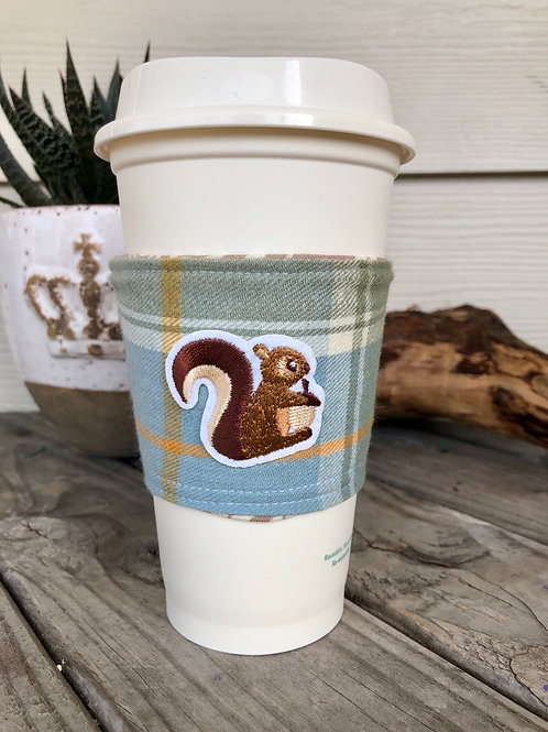Squirrel on Blue Flannel Coffee Cup Cozy