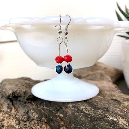 Red & Blue Handmade Bead Earrings