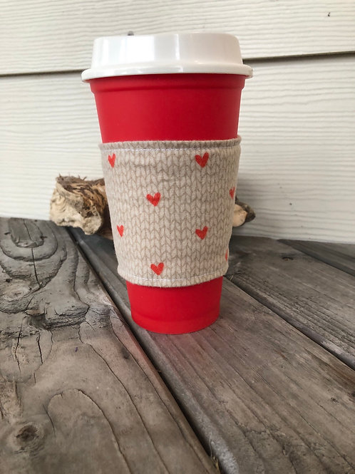 Knit Hearts and Cables Cup Cozy Reversible