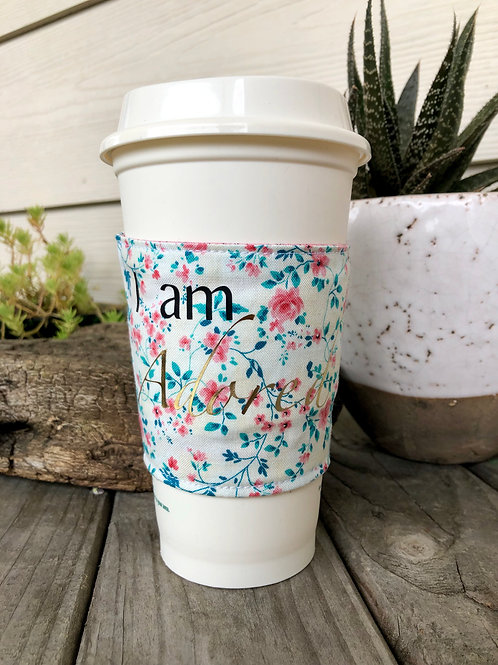 I am Adored Coffee Cozy Spring Floral Reversible Handmade