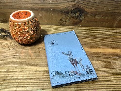 Winter Deer Light Blue Little Leather Notebook