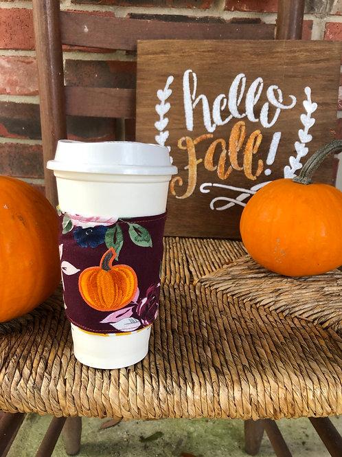 Pumpkin on Floral Coffee Cozy Reversible