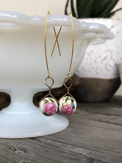 Spring Rose Drop Earrings Handmade Gift