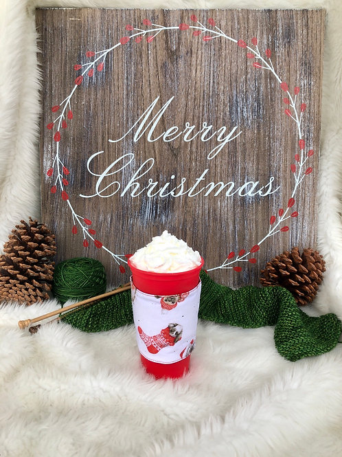 Warm Wishes Bunny in Stocking Cup Cozy Reversible