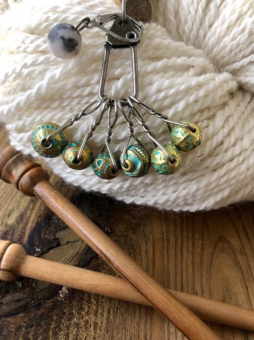 Gold Patina Knitting Stitch Markers Handmade