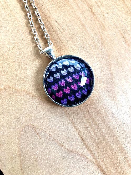 Knit Hearts - Bezel Necklace