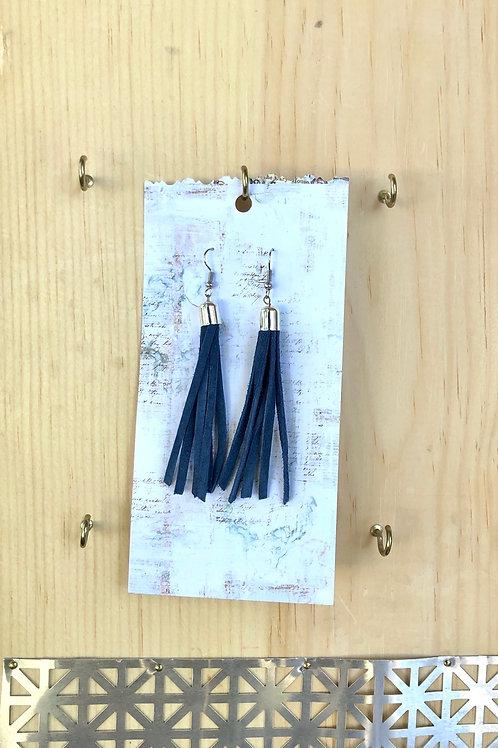 Navy Long Suede Long Tassel Earrings