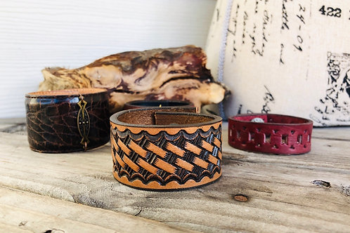 Woven Leather Shawl Cuff