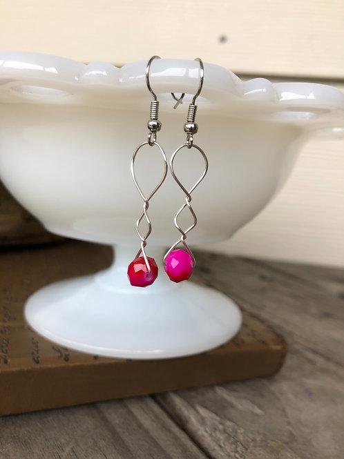 Ombré Red Pink Sparkle Bead Handmade Earrings