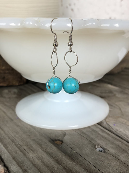 Turquoise Bead Earrings Handmade Gift