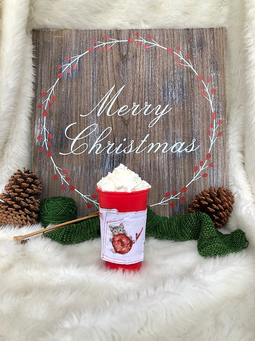 Warm Wishes Cat and Ornament Cup Cozy Reversible