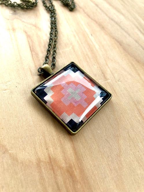 Geometric Pink Orange Black - Bezel Necklace