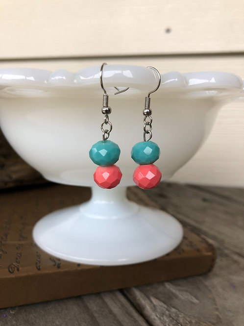 Turquoise and Living Coral Sparkle Earrings Handmade