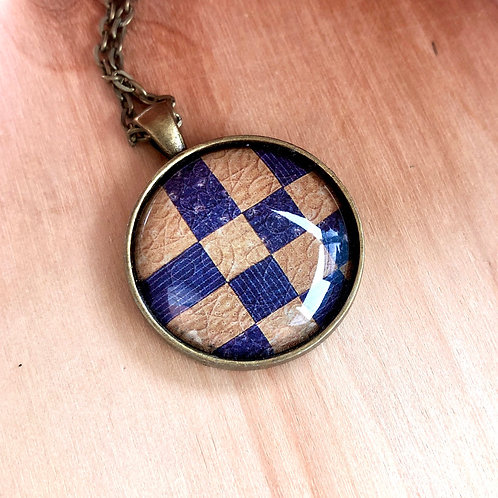 Quilt Block Geometric Sew - Bezel Necklace