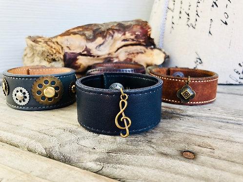Treble Clef Navy Leather Cuff Bracelet Shawl Cuff