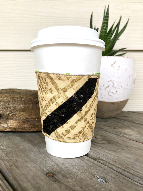 Gold and Black Sequin Reversible Coffee Cozy Handmade