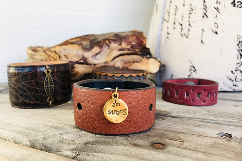 I am Strong Leather Shawl Cuff