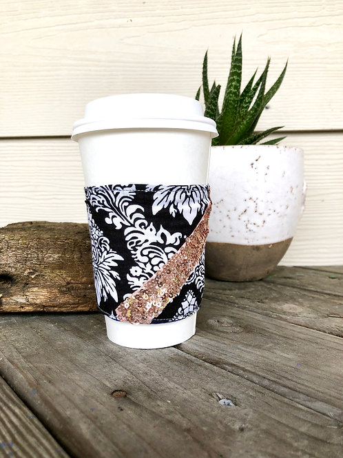 Black And Pink Sequins Reversible Coffee Cozy