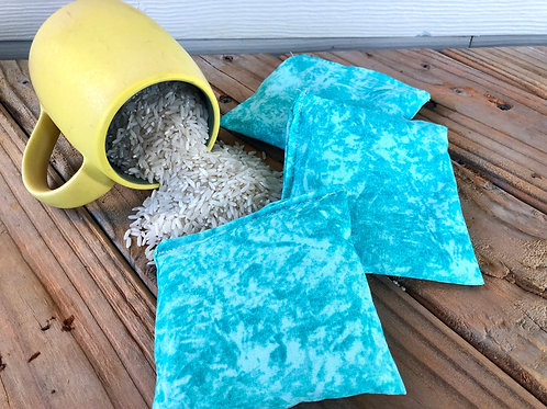 "Teal Pocket Rice Bags - Hand Warmers, ""BooBoo"" Packs, Small Set of 3"