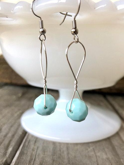 Sky Blue Sparkle Earrings Handmade
