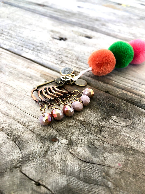 Mauve Copper Sparkle Handmade Removable Stitch Markers Crochet Knitting