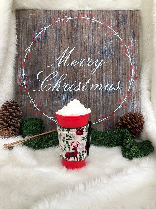 Woodland Christmas Cup Cozy Reversible Fabric