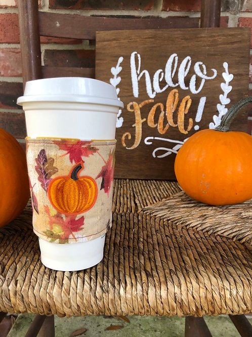 Pumpkin on Leaves Coffee Cozy Reversible