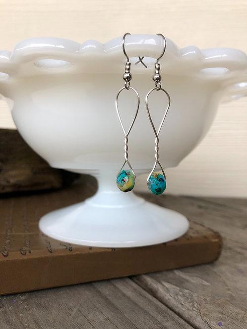 Teal Speckle Red Bead Earrings Handmade