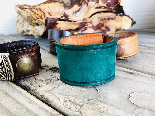 Teal Green Shawl Cuff Leather