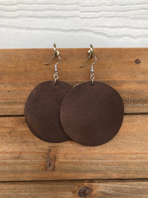 Choose Your Size - Bison Brown Circle Leather Earrings