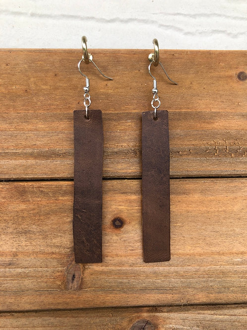 Choose Your Size - Bison Brown Bar Leather Earrings