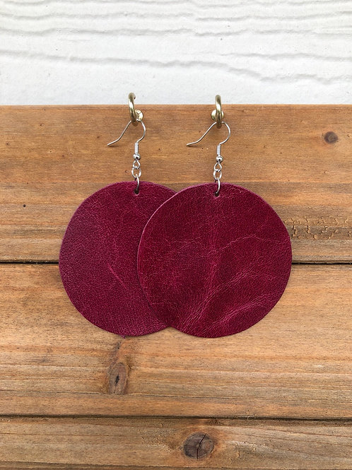 Choose Your Size - Maroon Circle Leather Earrings