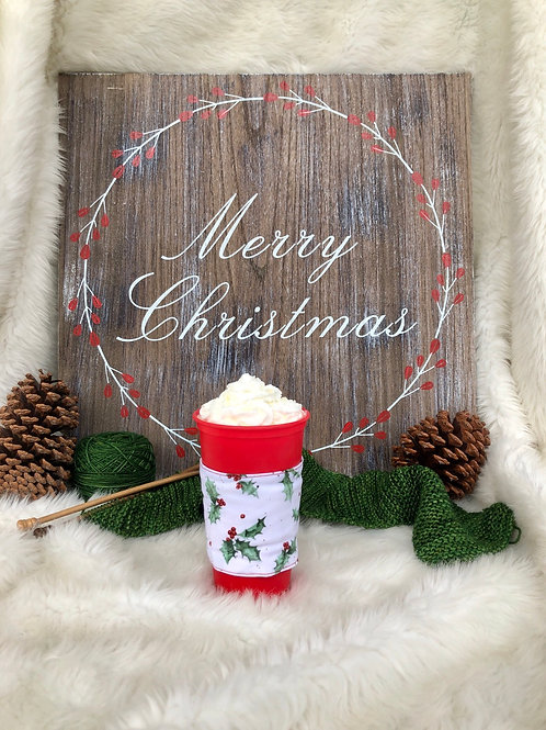 Mistletoe Cup Cozy Reversible Fabric