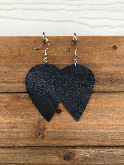 Charcoal Grey Inverted Teardrop Leather Earrings