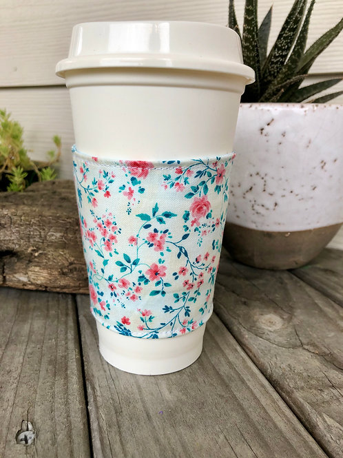 Spring Floral Reversible Coffee Cozy Handmade I love you Floral