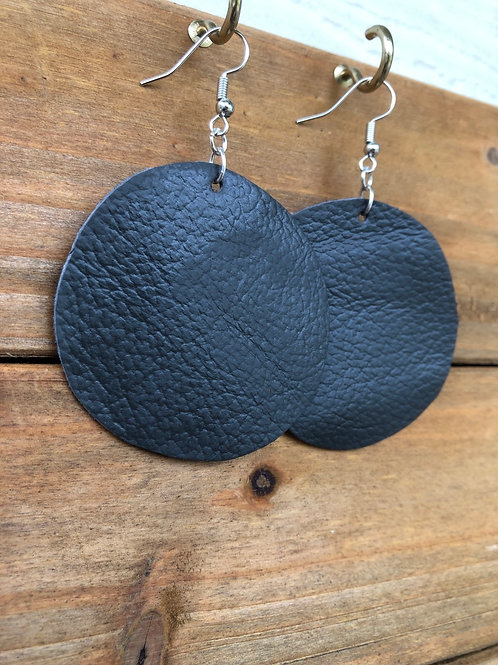 Charcoal Grey Circle Leather Earrings