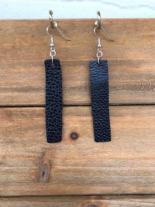 Black Bar Leather Earrings