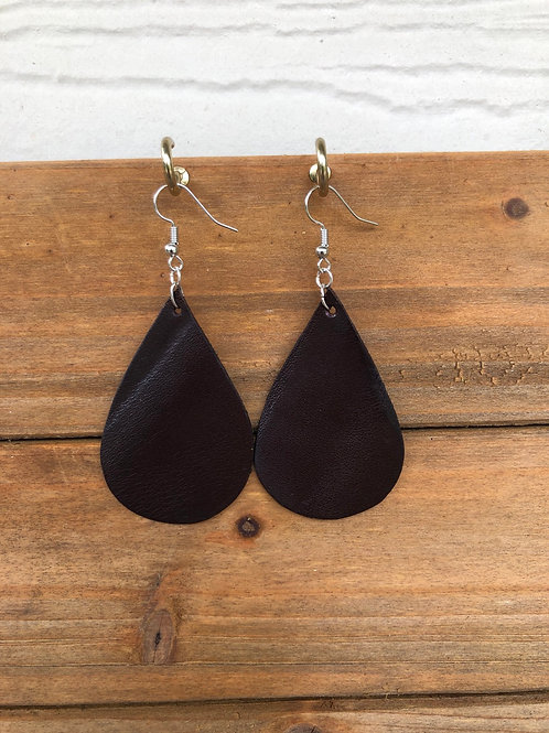 Choose Your Size - Dark Brown Teardrop Leather Earrings
