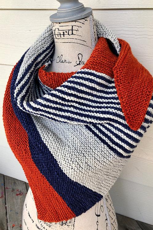 Autumn Stripe Shawl Hand Knit Scarf