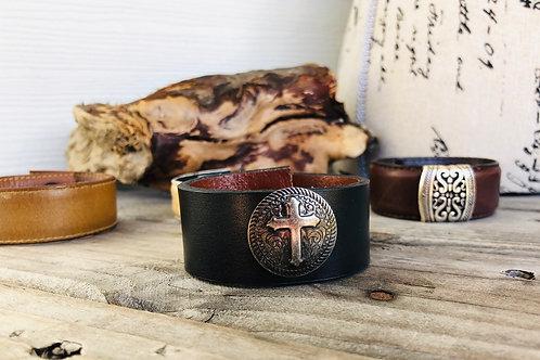 Cross Black Leather Cuff Bracelet Shawl Cuff