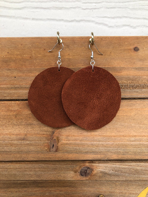 Choose Your Size - Brown Suede Circle Leather Earrings