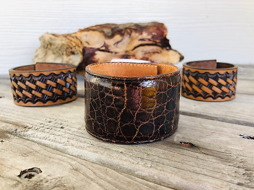 Dark Brown Leather Cuff Bracelet Shawl Cuff