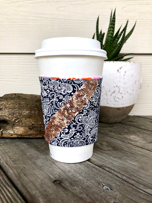 Paisley and Pink Sequins Reversible Coffee Cozy Handmade