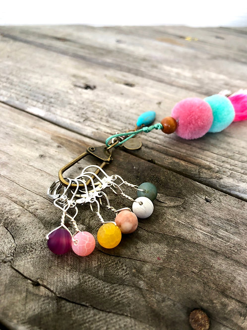 Natural Multicolor Removable Stitch Markers Crochet Knitting Handmade