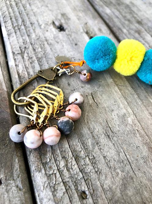 Pink Stone Removable Stitch Marker Set Crochet Knitting Handmade