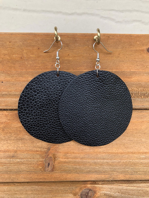Choose Your Size - Black Circle Leather Earrings