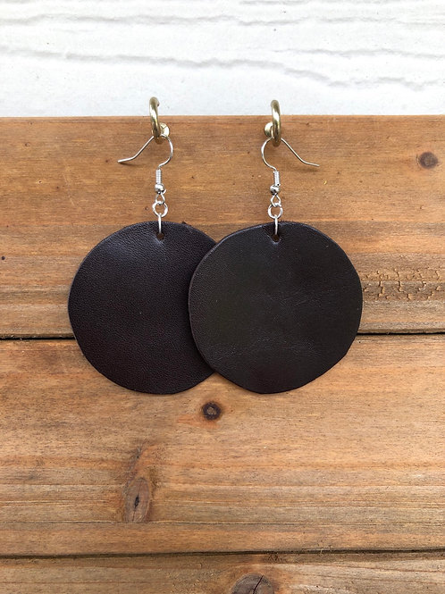 Choose Your Size - Dark Brown Circle Leather Earrings