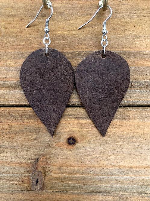 Bison Brown Inverted Teardrop Leather Earrings