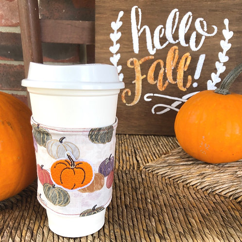 Pumpkin Patch Coffee Cozy Reversible