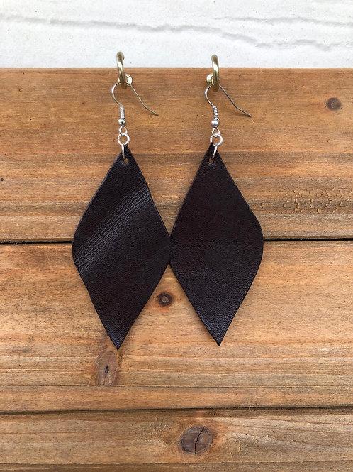 Dark Brown Diamond Leather Earrings